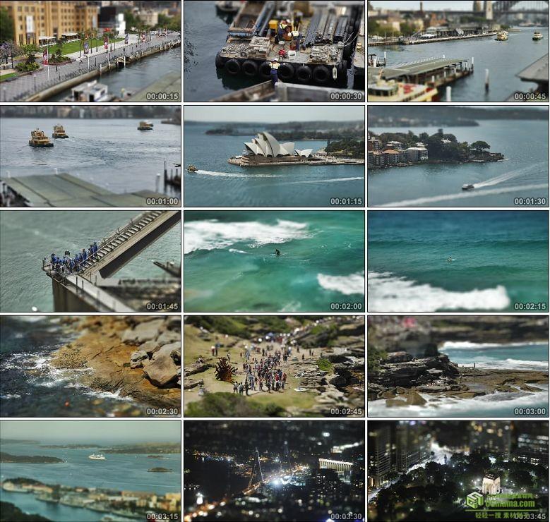 AA0163-移轴摄影:澳大利亚悉尼海滩车流高清实拍视频素材