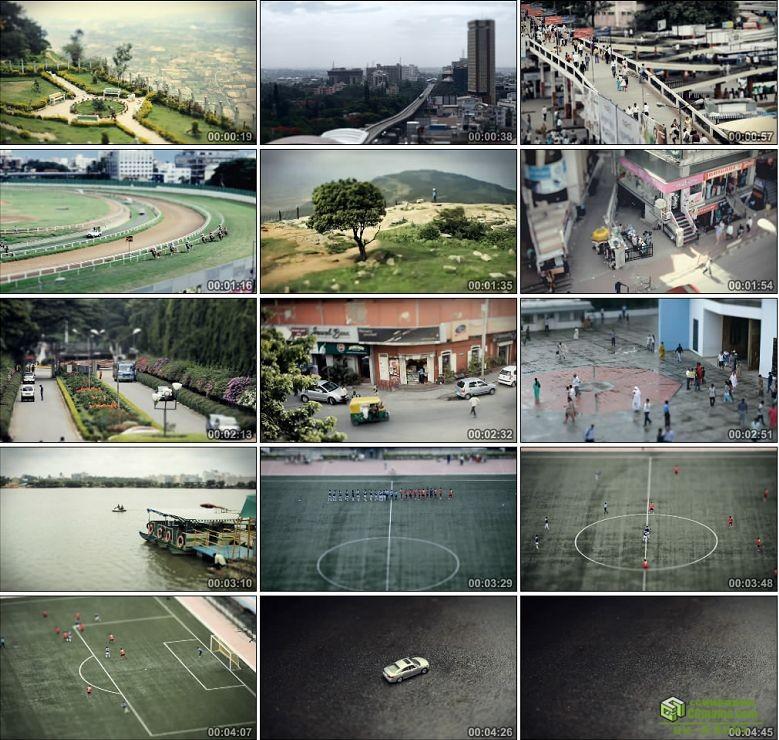 AA0167-印度:迷你城市足球场交通高清实拍视频素材