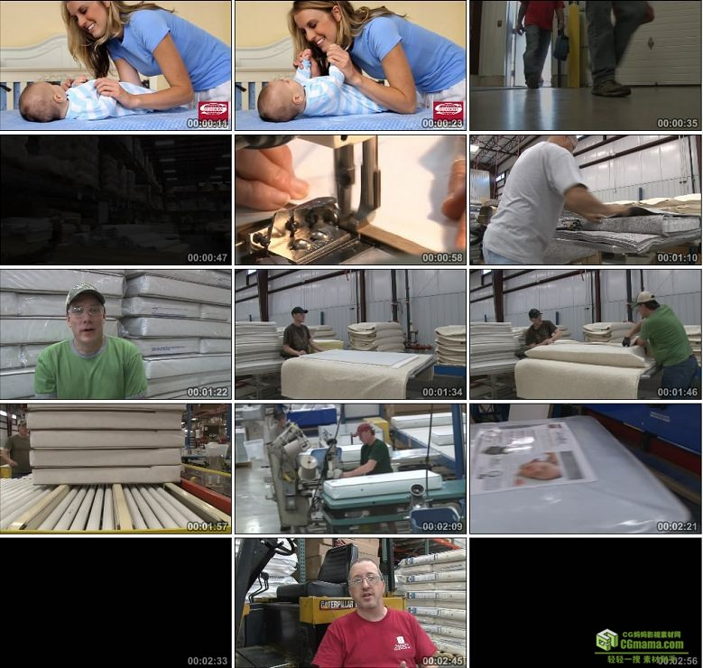 AA0263-婴儿床垫制造过程高清实拍视频素材宣传片下载