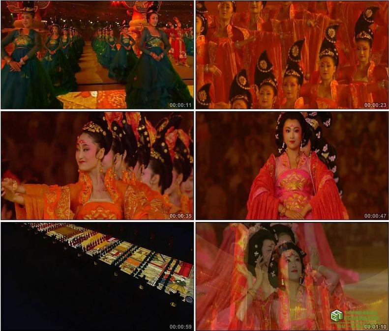 YC1090-中国北京奥运会开幕式中国古代仕女舞蹈高清实拍视频素材