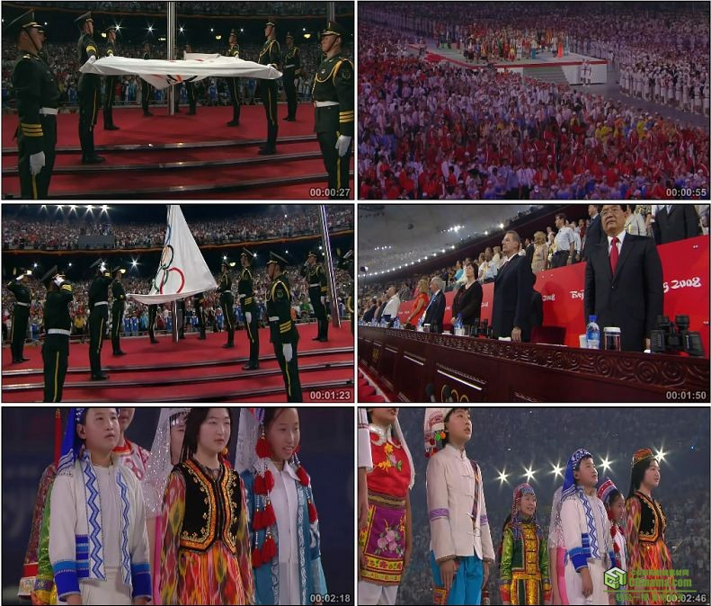 YC1097-中国少数民族歌唱奥林匹克会歌升五环旗奥林匹克会旗高清实拍视频素材