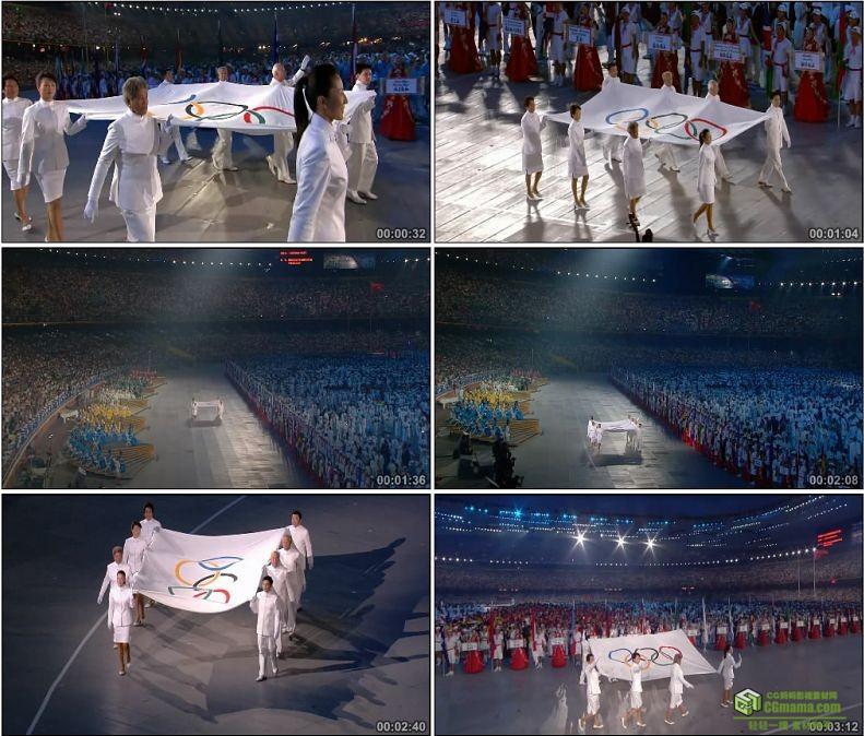 YC1100-中国北京2008奥运会奥林匹克运动会会会旗入场高清实拍视频素材