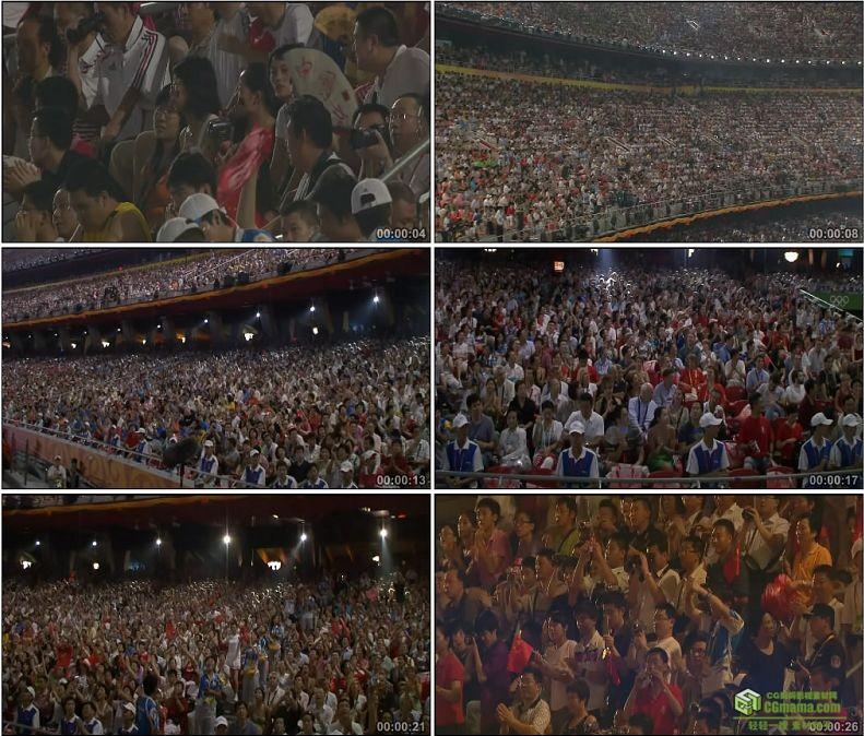 YC1101-体育运动会运动场观众舞动小国旗高清实拍视频素材