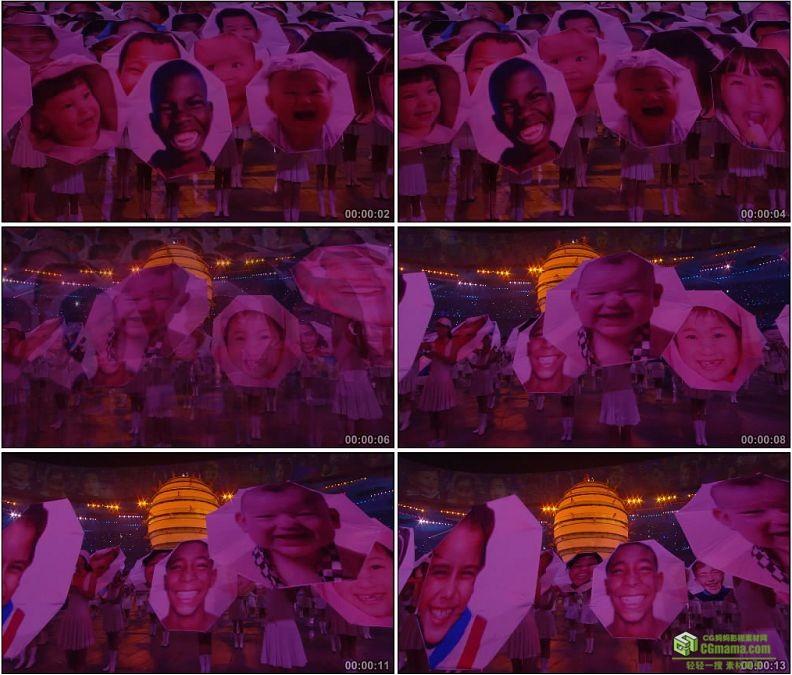YC1114-中国北京奥运会开幕式2008张笑脸高清实拍视频素材