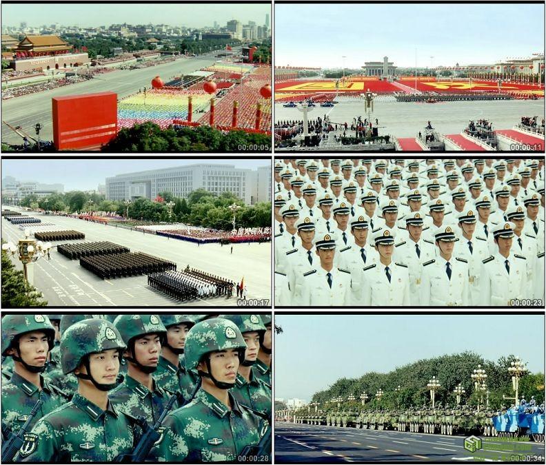 YC1121-国庆阅兵天安门广场海陆空军队方阵高清实拍视频素材