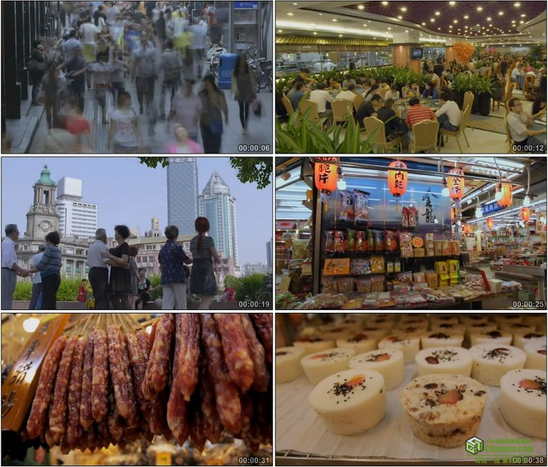 YC1139-城市街景庙会腊肠火腿米糕美食小吃高清实拍视频素材