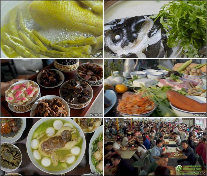 YC1147-刀鱼炖鸡鱼头火锅蒸肉食堂中国饮食文化高清实拍视频素材