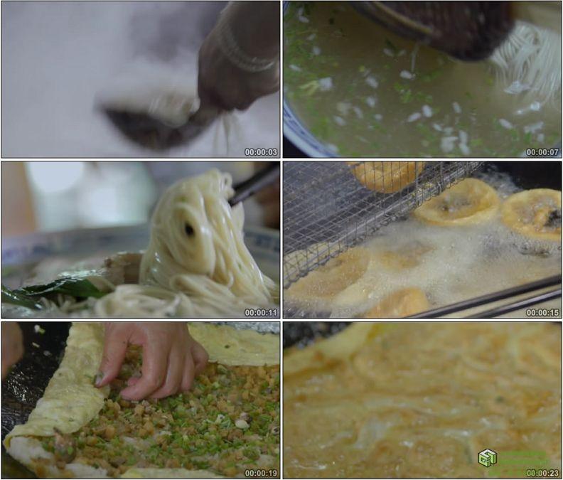 YC1155-丰盛小吃大肉面三鲜豆皮炸油饼美食小吃高清实拍视频素材