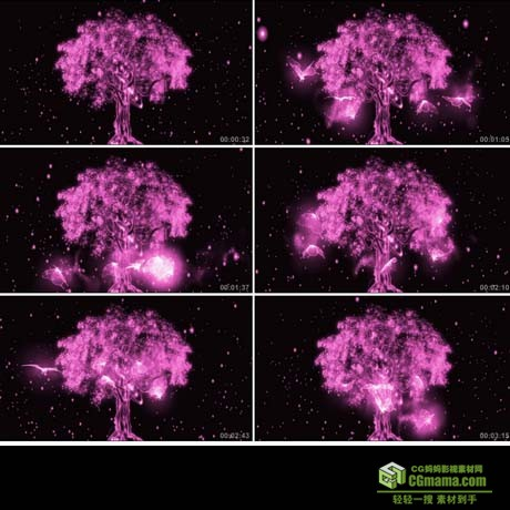 LED0062-粉色光效蝴蝶树粒子光树高清led视频背景素材