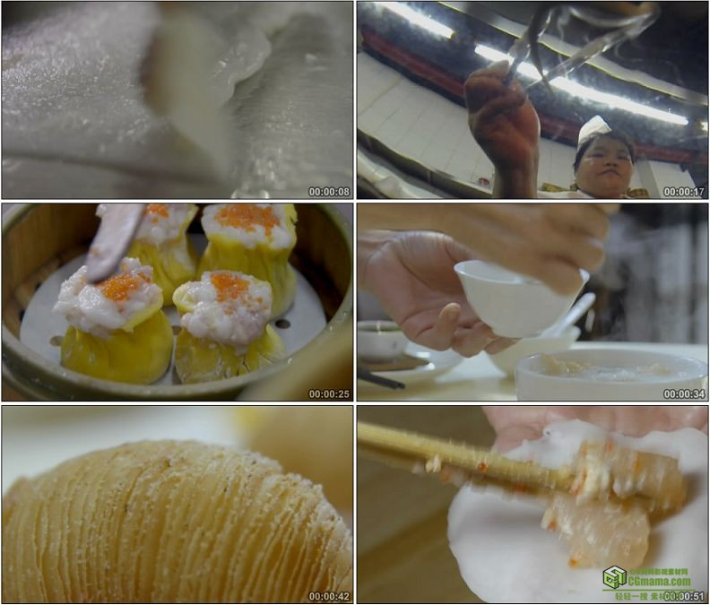 YC1160-广式精致早茶早点水菱角/虾饺/榴莲酥/烧麦美食高清实拍视频素材