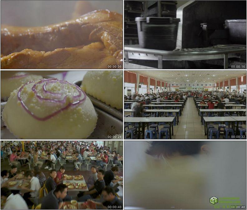 YC1202-现代机械化做菜煮饭大餐厅人流高清实拍视频素材