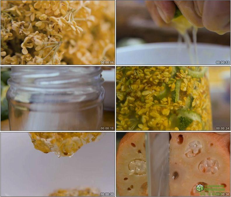 YC1205-香甜桂花酱糯米桂花藕美味小吃高清实拍视频素材