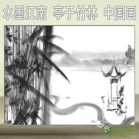LED0141-水墨江南 亭子 竹子 竹林 中国画高清视频 led背景素材
