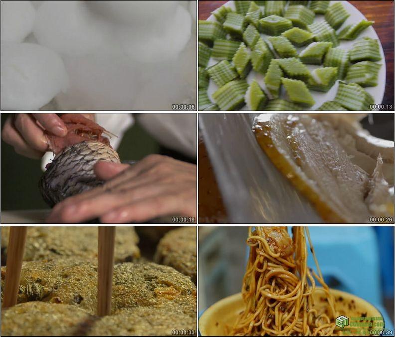 YC1225-中国饮食文化/生煎包年糕馅饼/重庆小面烤鸭脱骨鱼美食美味高清实拍视频素材
