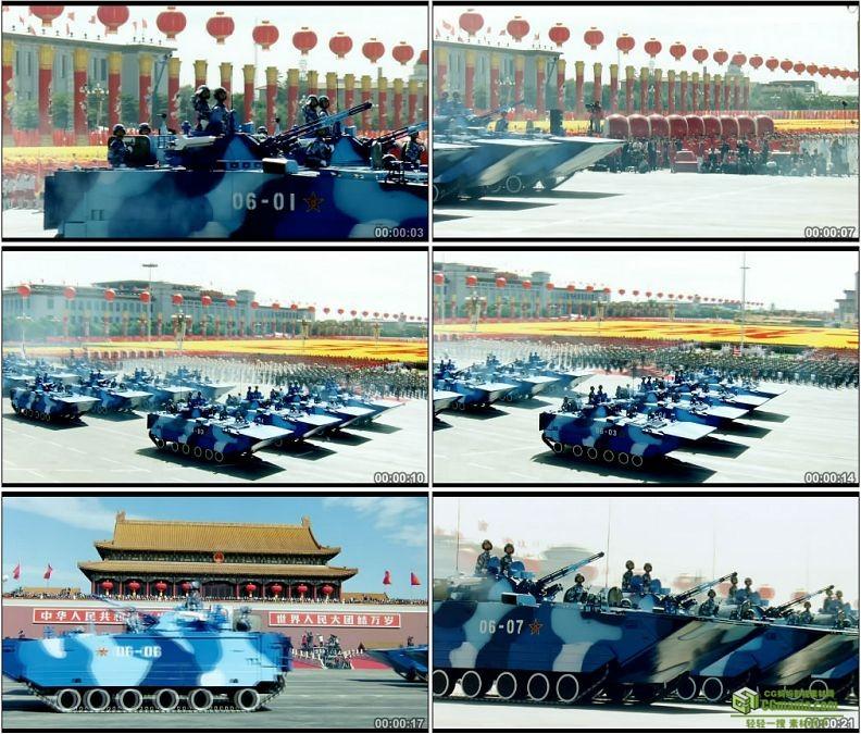 YC1247-中国军队海军陆战队战车阅兵大典军事高清实拍视频素材