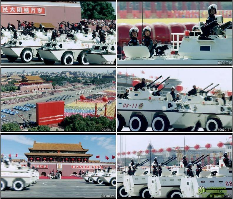 YC1249-中国军队08式武装警察装甲车部队阅兵军事高清实拍视频素材