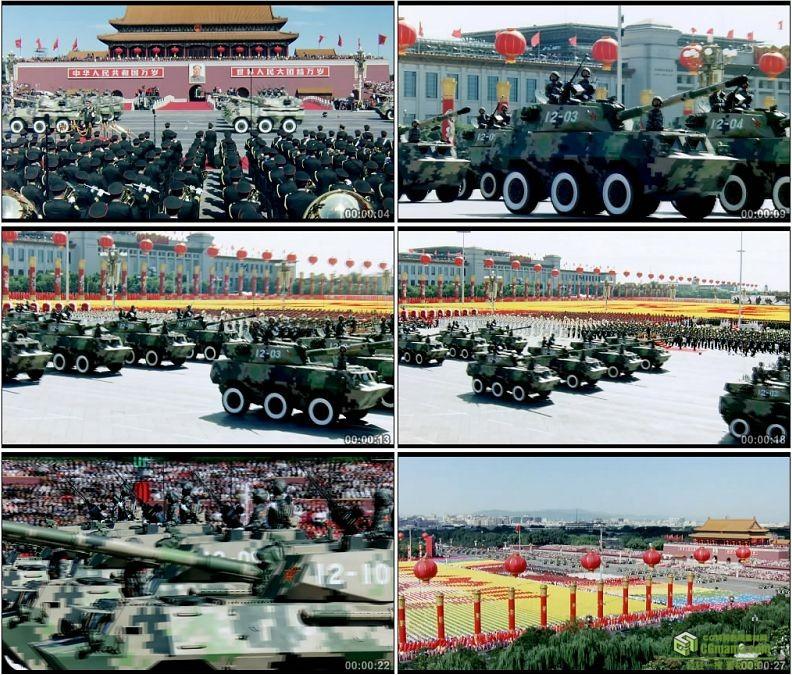 YC1253-中国军队轮式自行突击炮部队装甲车战车军事高清实拍视频素材