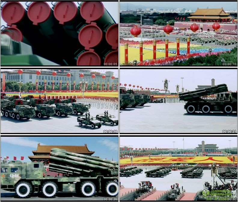 YC1254-中国军队远程火箭炮部队炮兵阅兵典礼军事高清实拍视频素材