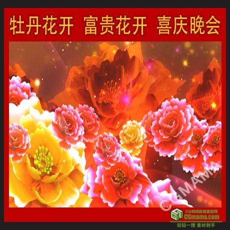 LED0167-牡丹花开 富贵花开 喜庆 晚会LED高清视频大屏幕背景素材