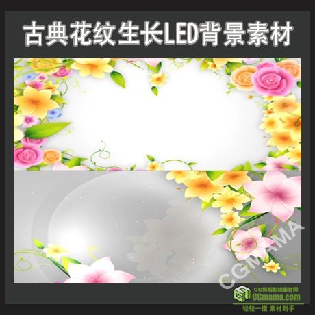 LED0280-古典花纹生长高清视频led背景素材