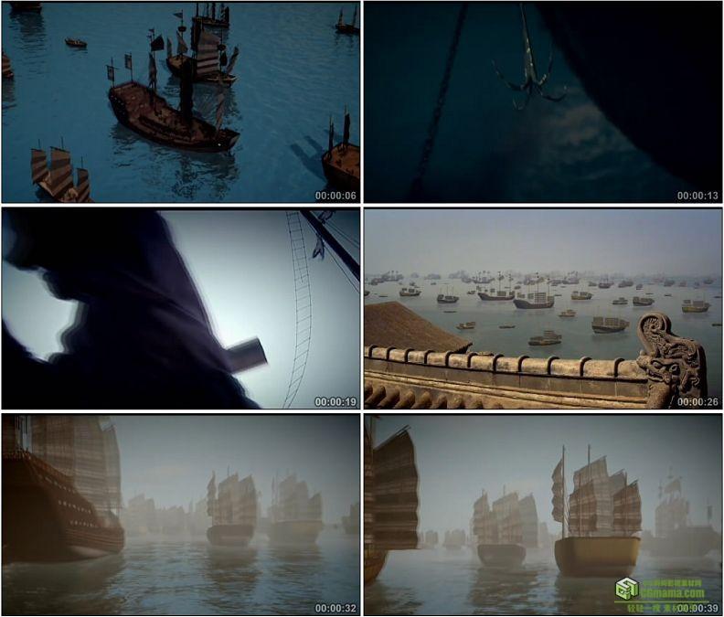 YC1304-郑和下西洋海上大船水手扬帆高清实拍视频素材
