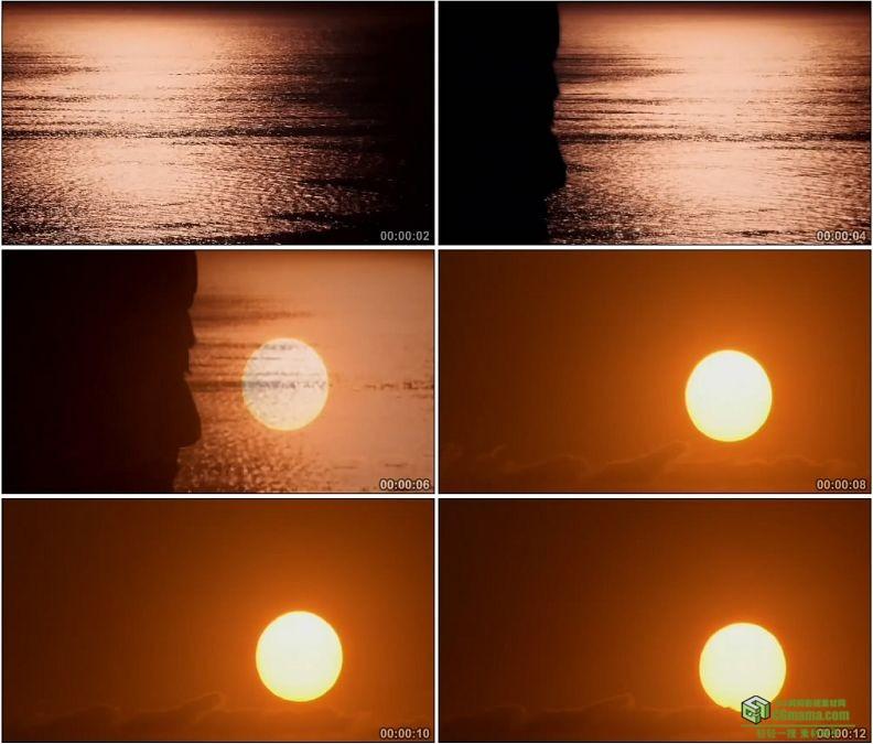 YC1312-夕阳下的水面海面思考的人影落日高清实拍视频素材