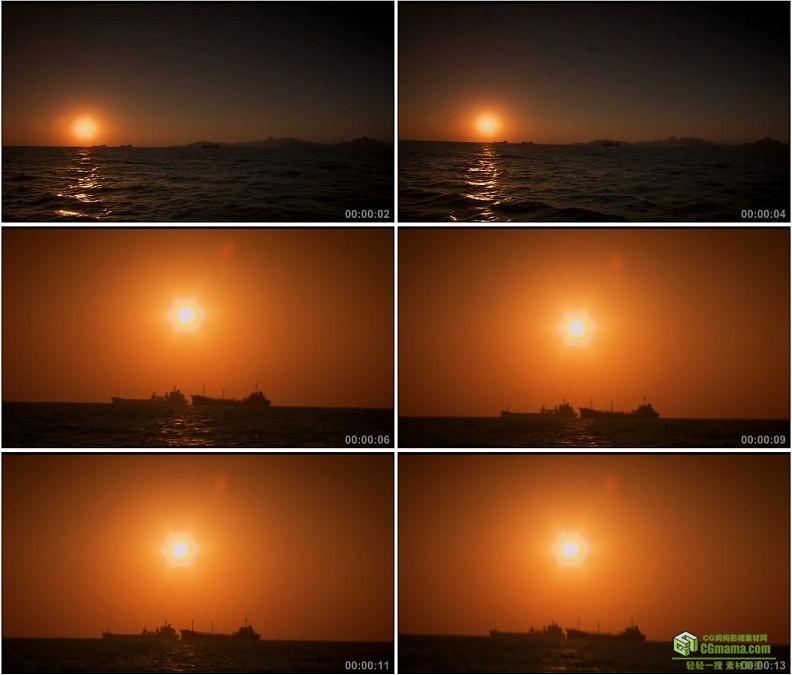 YC1313-夕阳下的大海海上的小船高清实拍视频素材