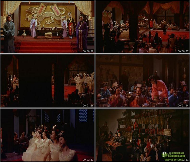 YC1343-战国时期秦始皇古代宫廷宴会舞姬歌舞乐师奏乐高清实拍视频素材