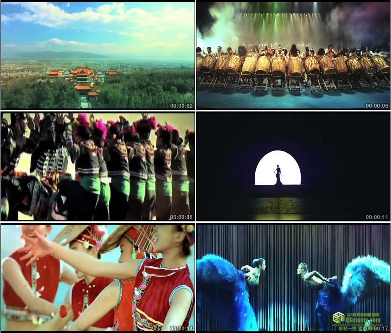 YC1351-云南特色少数民族舞蹈孔雀舞白族少女小高清实拍视频素材