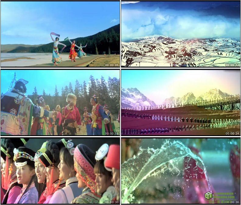 YC1357-云南少数民族跳舞舞蹈载歌载舞祖国团结泼水节小高清实拍视频素材