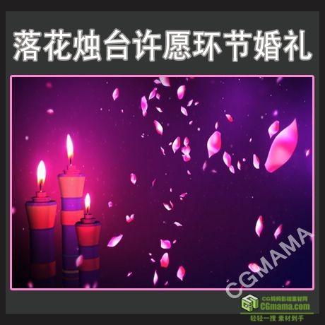LED0550-落花烛台许愿环节婚礼素材花瓣高清led视频背景素材