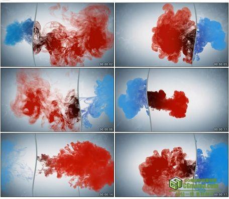 LED0578-红蓝双色墨迹水墨晕染LED高清视频背景素材