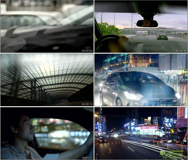 YC1387-行人脚步走路特写开车行驶过隧道车流夜景交通马路高清实拍视频素材