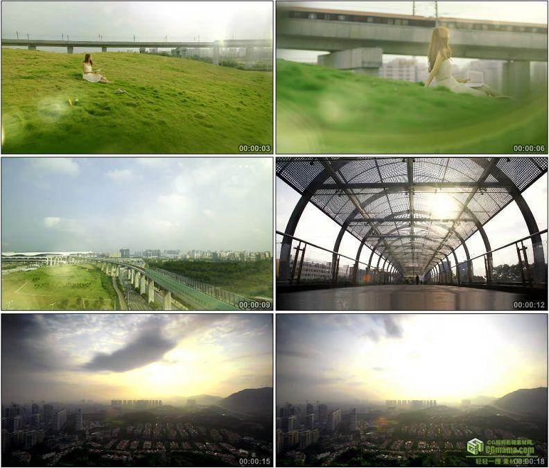 YC1391-中国高铁美女看高铁飞速驶过火车站人流高清实拍视频素材