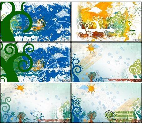 LED0593-彩色涂鸦太阳大树LED高清动画视频背景素材