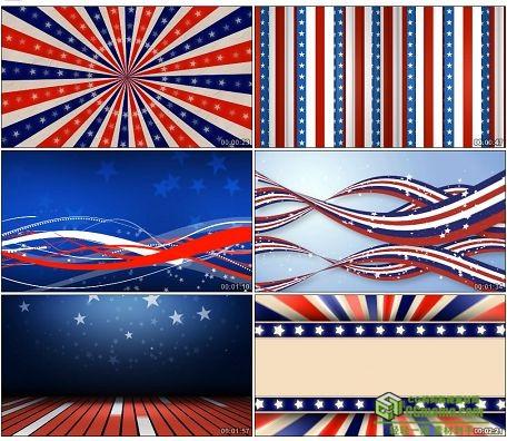 LED0595-美国星条旗彩带星星系列LED高清视频背景素材