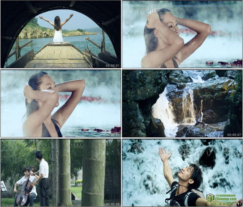 YC1407-惬意享受泡温泉拉大提琴瑜伽高清实拍视频素材