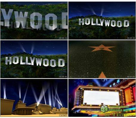 LED0603-好莱坞标志星光大道霓虹灯牌LED高清视频背景素材