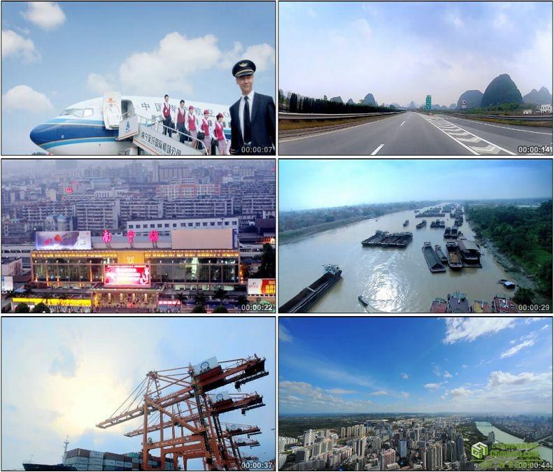 YC1418-中国交通工具动车和谐号飞机签证起飞货轮物流高速公路高清实拍视频素材