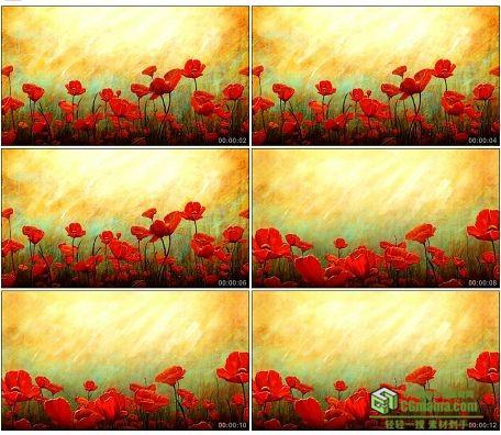 LED0614-水彩花鲜花花朵生长高清led背景视频素材