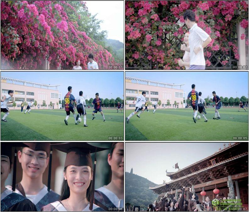 YC1424-体育运动情侣晨跑跑步中学生踢足球大学生学士服毕业扔学士帽高清实拍视频素材