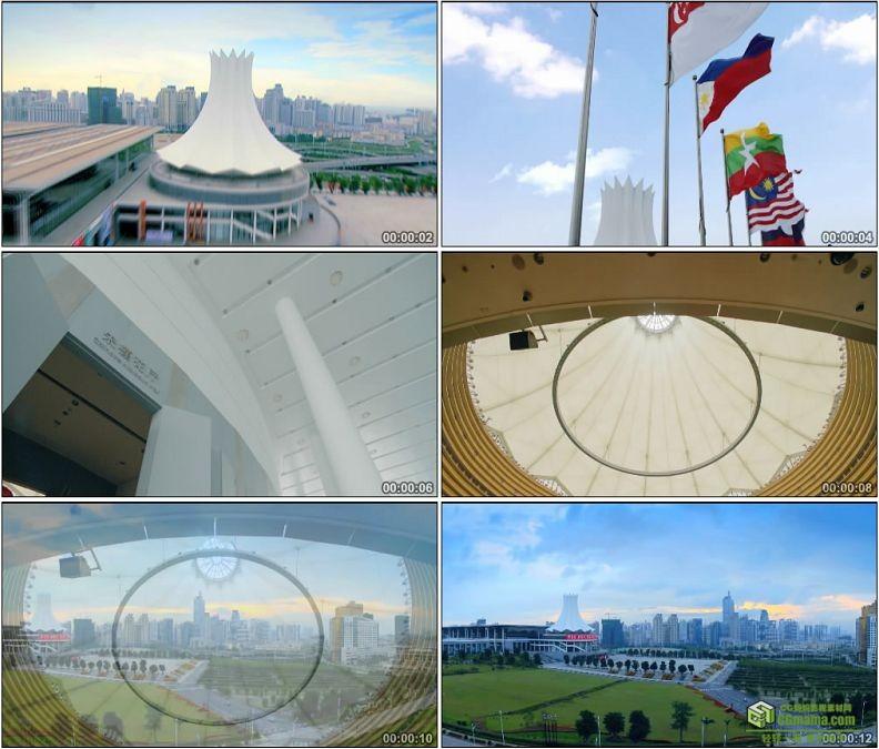 YC1429-中国广西东盟自贸区大楼高清实拍视频素材