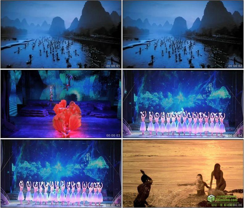 YC1433-少数民族歌舞表演划船河边嬉戏高清实拍视频素材
