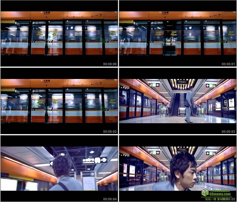 YC1445-地铁站地铁跳舞的男人高清实拍视频素材
