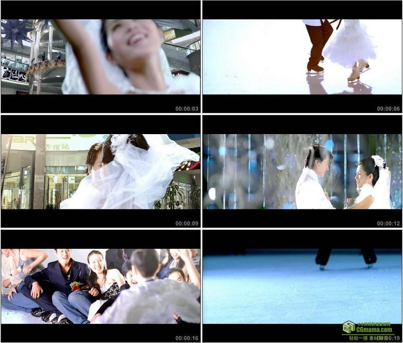 YC1446-情侣婚纱溜冰场滑旱冰浪漫唯美滑冰高清实拍视频素材
