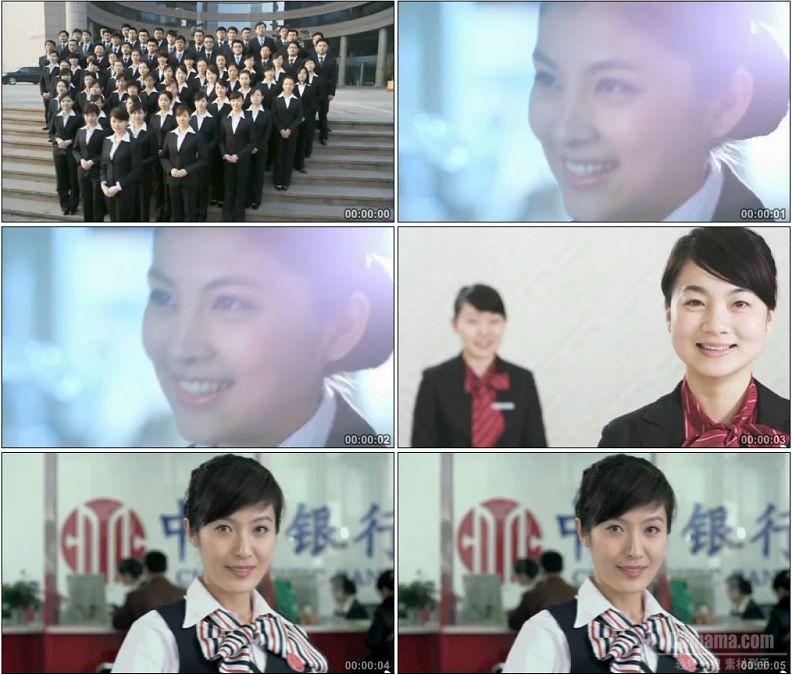 YC1462-银行客服服务人员微笑笑脸小高清实拍视频素材