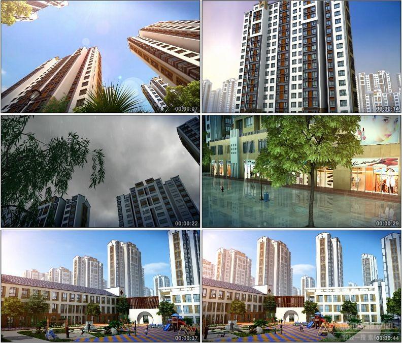 YC1468-高清建筑动画建筑漫游晴天阴雨闪电小区城市视频素材