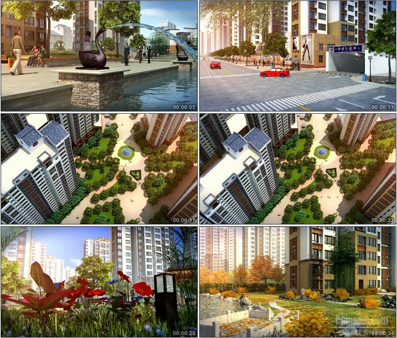 YC1471-高清建筑漫游建筑动画四季变换喷泉交通花园小区高楼视频素材