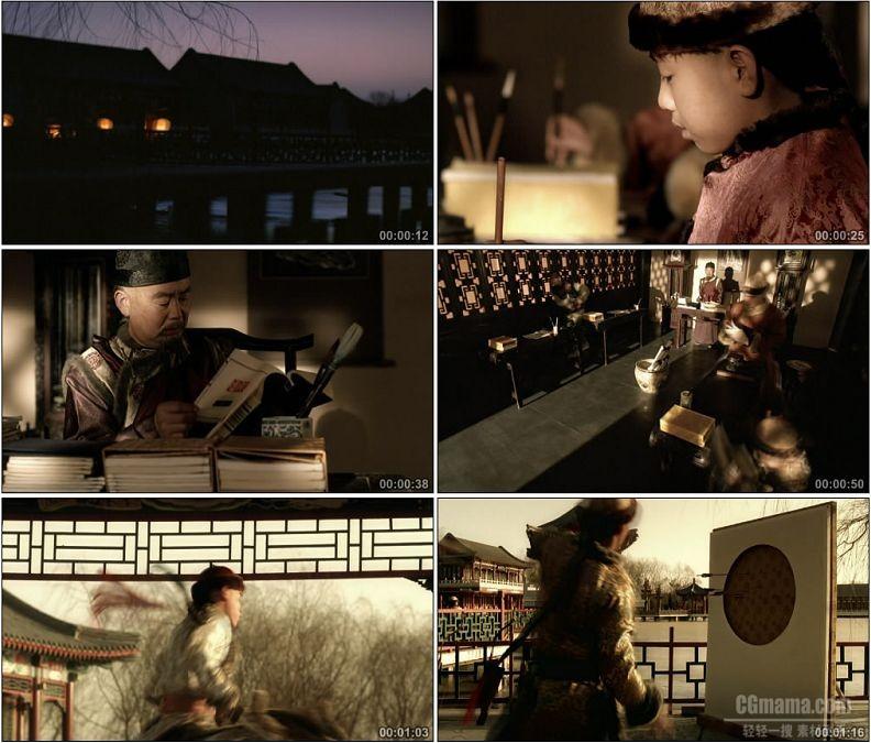 YC1475-古代古人清朝晨起点灯笼读书私塾学习高清实拍视频素材