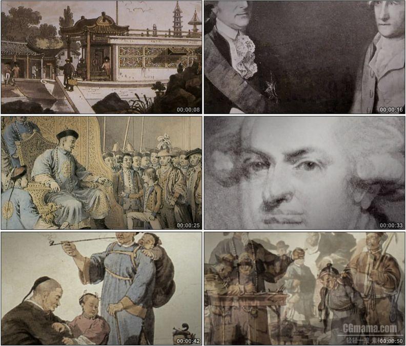 YC1486-古代清朝接待外国使臣外国人眼中的中国清朝帝国绘画史料高清实拍视频素材